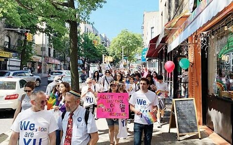 YU LGBTQ students and their supporters marched through Washington Heights last summer to press for recognition at the Modern Orthodox flagship institution. (Shira Hanau/JW)