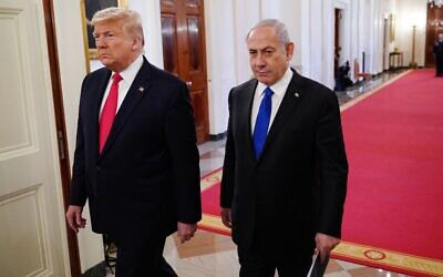 US President Donald Trump and Israeli Prime Minister Benjamin Netanyahu arrive for an announcement of Trump's Middle East peace plan in the East Room of the White House in Washington, DC on January 28, 2020. Mandel Ngan via Getty Images
