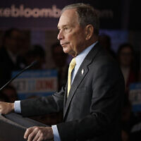Democratic presidential candidate Mike Bloomberg holds a campaign rally in Detroit, Feb. 4, 2020. (Bill Pugliano/Getty Images/via JTA)