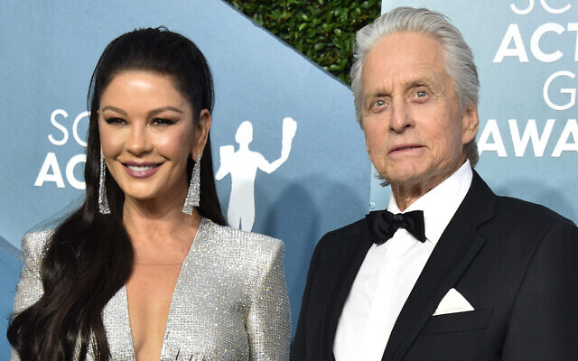 Catherine Zeta-Jones and Michael Douglas at the Screen Actors Guild Awards at The Shrine Auditorium in Los Angeles, Jan. 19, 2020. (Gregg DeGuire/Getty Images for Turner/via JTA)