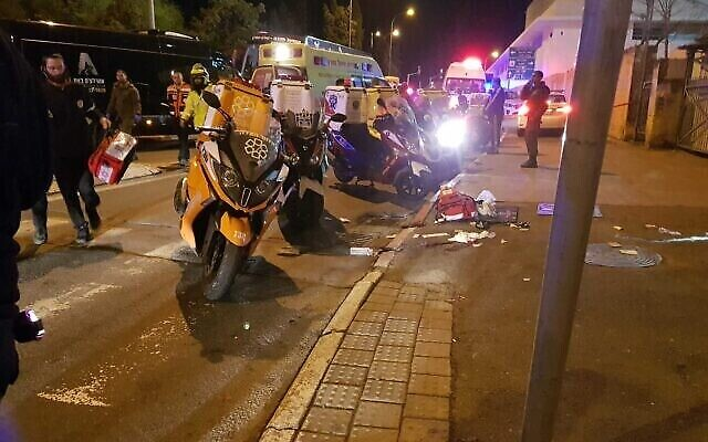 Medics at the scene of a suspected car-ramming attack in Jerusalem on February 6, 2020 (MDA/via Times of Israel)