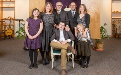 The author's son and family at his Bar Mitzvah. Courtesy of Gabrielle Kaplan-Mayer