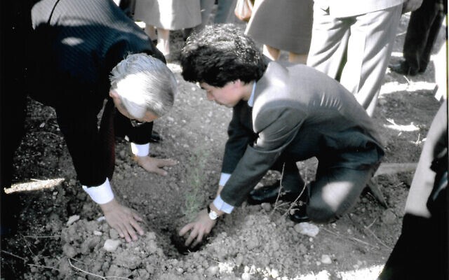 Nobuki Sugihara planting the first seedling in the Sugihara Righteous Forest near Beit Shemesh. Photos courtesy of Nobuki Sugihara