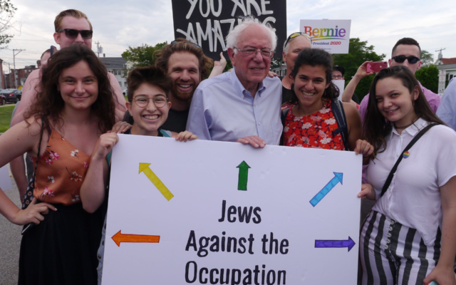 2020 Democratic presidential candidate Bernie Sanders with IfNotNow volunteers in New Hampshire on June 29, 2019. (Photo courtesy of IfNotNow/via JTA)