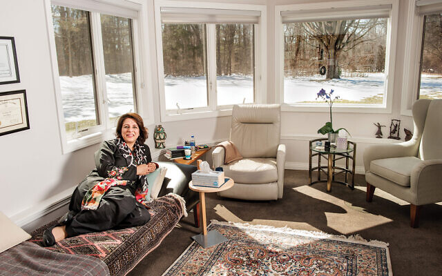 Couched in meaning: Dr. Aisha Abbasi in her light-filled office. Mark Gerald