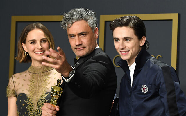Jewish stars Natalie Portman, Taika Waititi, and Timothée Chalamet pose in the press room during the 92nd Annual Academy Awards (Photo by Steve Granitz/WireImage/via JTA)