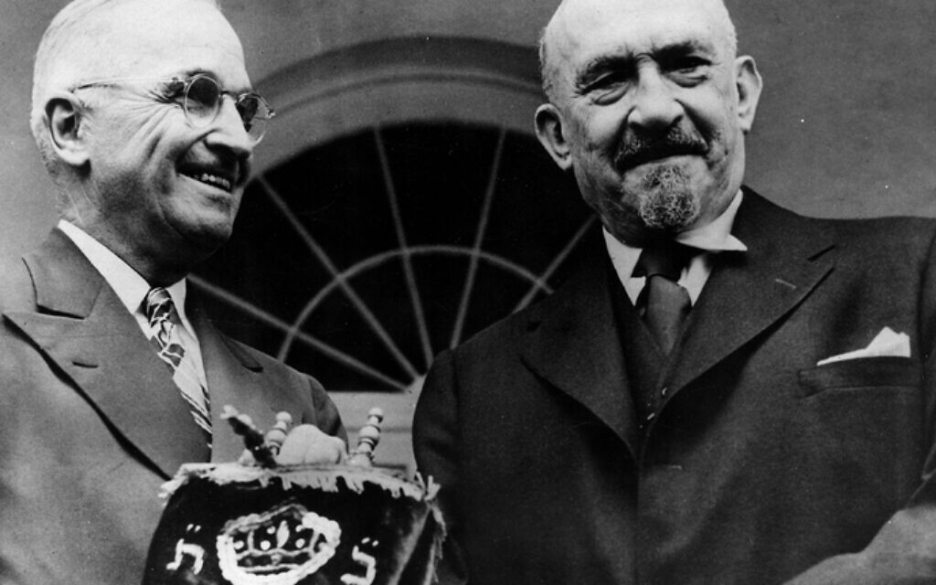 Dr. Chaim Weizmann, President of Israel, presents a Torah, or Holy Scroll, to President Truman during a visit to the White House. Donor: Rabbi Phillip S. Bernstein on May 25, 1948. Photo: Brown-Suarez Photo/Harry S. Truman Library & Museum