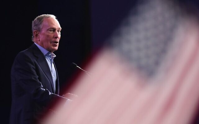 Democratic presidential candidate Mike Bloomberg speaks at his Super Tuesday night event in West Palm Beach, Fla., March 3, 2020. (Joe Raedle/Getty Images/via JTA)