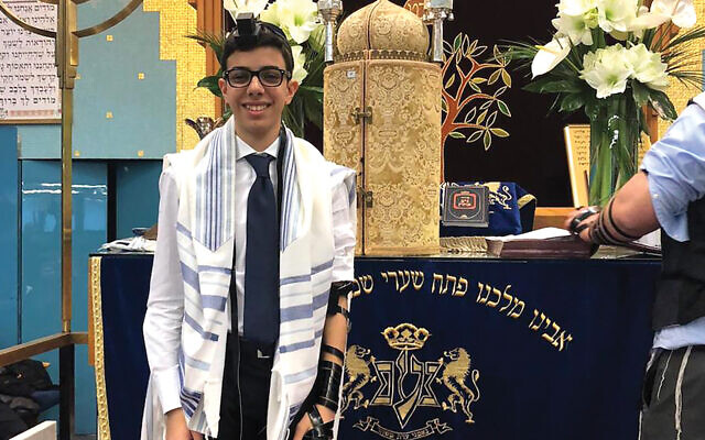 Ruben Golran had to limit his bar mitzvah ceremony to close relatives.  Courtesy of the Golran family
