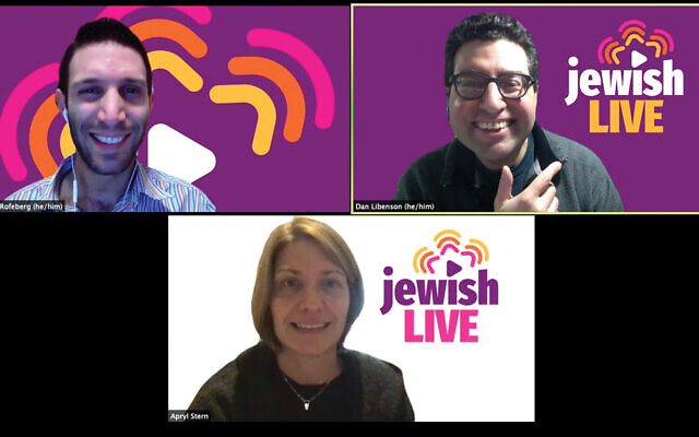 So near, so far: Lex Rofeberg, Apryl Stern and Dan Libenson are the jewishLIVE team. Courtesy of jewishLIVE