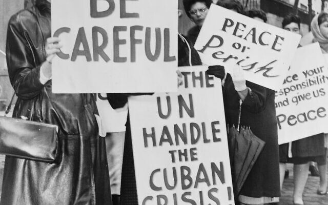 A women's peace group in front of the United Nations during the Cuban Missile Crisis Wikimedia Commons