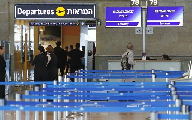 The El Al departure counter at Ben Gurion International Airport is empty after the airline canceled flights to Italy amid a coronavirus outbreak, Feb. 27, 2020. (Jack Guez/AFP via Getty Images/via JTA)