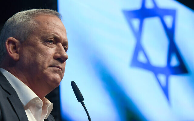 Benny Gantz at an election campaign event in Ramat Gan, Israel, Feb. 25. (Artur Widak/NurPhoto via Getty Images/via JTA)