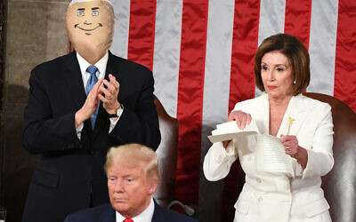 The Donald's No. 2 Doll: A staple from Nancy Pelosi's ripped State of the Union speech pierced what appeared to be the real Veep. Getty Images