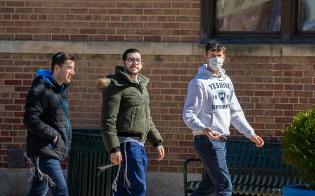 A Yeshiva University student wears a face mask on campus after a Yeshiva student has tested positive for Covid-19 in early March. The student's father, a Westchester lawyer, was the second person to test positive for Covid-19 in New York and is currently hospitalized. David Dee Delgado/Getty Images