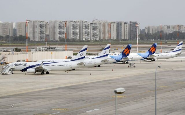 Israel's El Al aircrafts are pictured on the tarmac at Ben Gurion International Airport near Tel Aviv, on March 10, 2020 amid major restrictions on travellers from several countries. (Photo by JACK GUEZ/AFP via Getty Images)