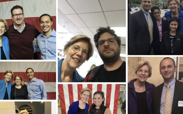 """The #JewswithWarren site includes pictures of """"Jews With Warren,"""" from among the many photos that Elizabeth Warren has taken with supporters. (Courtesy of Jews for Warren/via JTA)"""