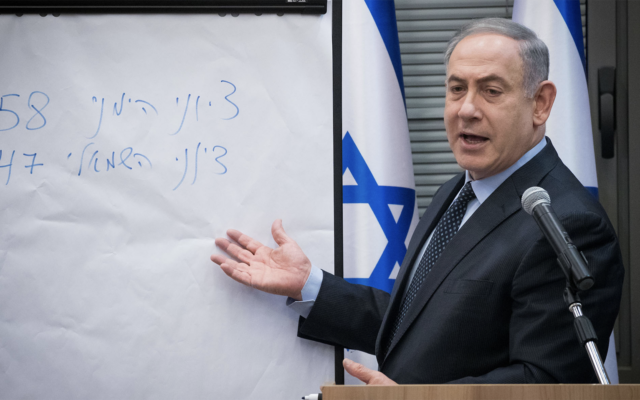 Israeli Prime Minister Benjamin Netanyahu talks parliament numbers with the heads of the right-wing Israeli parties, March 4, 2020. (Yonatan Sindel/Flash90/via JTA)