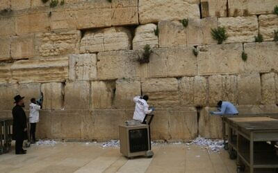 Western Wall stones sanitized after notes removed (Via JTA)