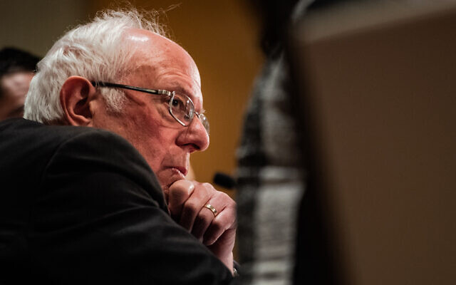 Bernie Sanders at a coronavirus public health conference in Romulus, Mich., March 9, 2020. (Salwan Georges/The Washington Post via Getty Images/via JTA)