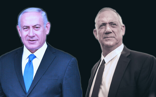 Will it be Prime Minister Benjamin Netanyahu, left, or Benny Gantz who emerges as the winner in Israel's third national election in less than a year? (Getty Images/via JTA)