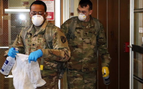 New York Army National Guard troops clean New Rochelle City Hall on Saturday, March 14, 2020 as part of the state's efforts to contain the spread of the novel coronavirus in the city. (Courtesy City of New Rochelle)