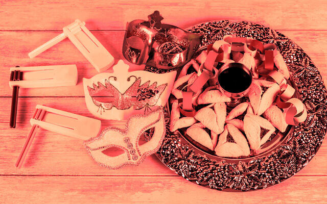 Purim groggers, masks and hamantaschen (Getty Images/via JTA)