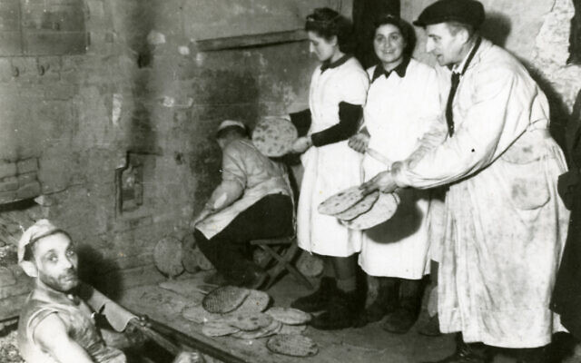 YIVO archival photo of Jews making matzah in the Lodz ghetto.