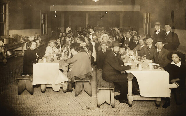 Passover seder for newly arrived Jewish immigrants at Ellis Island, circa 1920, organized by the Hebrew Immigrant Aid Society. YIVO