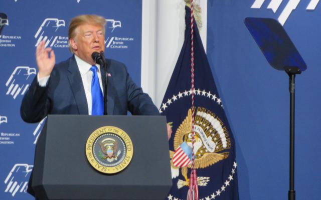 President Donald Trump addresses the Republican Jewish Coalition in Las Vegas, April 6, 2019. (Ron Kampeas)