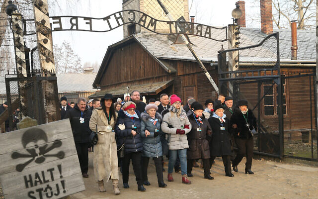 Former prisoners of the Auschwitz-Birkenau concentration camp at an International Holocaust Remembrance day event at the former camp in Oswiecim, Poland, Jan. 27, 2020. (Damian Klamka/SOPA Images/LightRocket via Getty Images/via JTA)