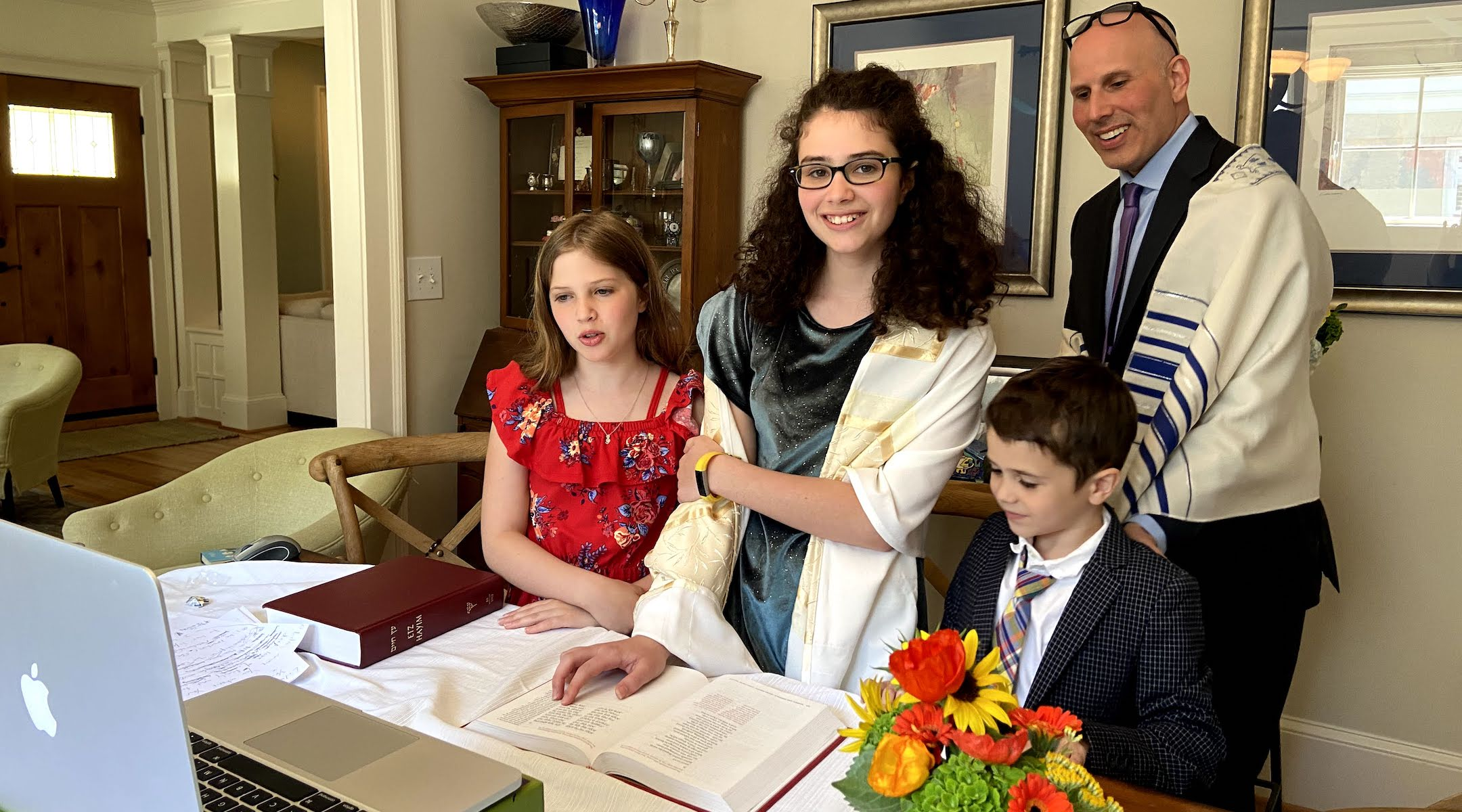 Lila Duke celebrated her bat mitzvah at home as more than 100 guests tuned in on Zoom. (Courtesy of the Duke family/via JTA)