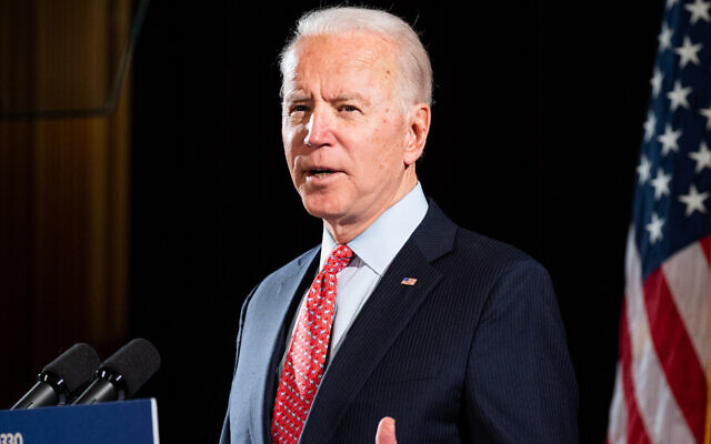Joe Biden speaks about the coronavirus at the Hotel Du Pont in Wilmington, Del. (Michael Brochstein / Echoes Wire/Barcroft Media via Getty Images/via JTA)