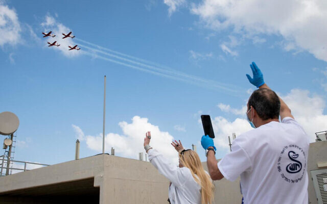Israel's Air Force marks Independence Day with a flyover above the Sheba Medical Center, Tel Hashomer, Ramat Gan, April 28, 2020. (IDF Spokespersons' Unit)