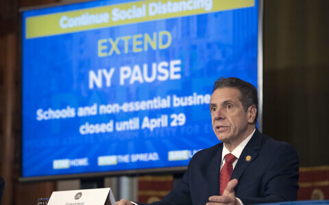 Gov. Andrew M. Cuomo provides a coronavirus update during a press conference in the Red Room at the State Capitol in Albany, April 6, 2020. (Mike Groll/Office of Governor Andrew M. Cuomo)