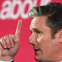 Keir Starmer speaking at a Labour Party event in Durham, England, Feb. 23, 2020. (Photo by Ian Forsyth/Getty Images/via JTA)