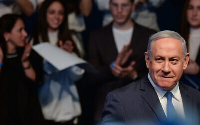 Prime Minister Benjamin Netanyahu campaigns in Ramat Gan, Feb. 29th, 2020. (Artur Widak/NurPhoto via Getty Images/via JTA)