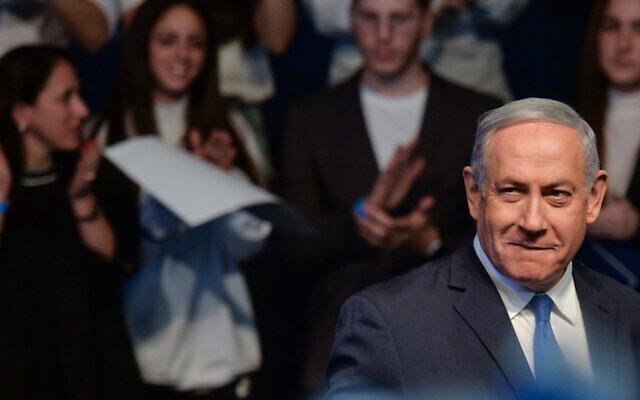 Prime Minister Benjamin Netanyahu campaigns in Ramat Gan, Feb. 29th, 2020. (Artur Widak/NurPhoto via Getty Images/via JTA)