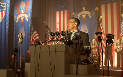 "John Turturro plays a Newark rabbi who supports Charles Lindbergh for president in the HBO miniseries ""The Plot Against America."" (Michele K. Short/HBO)"