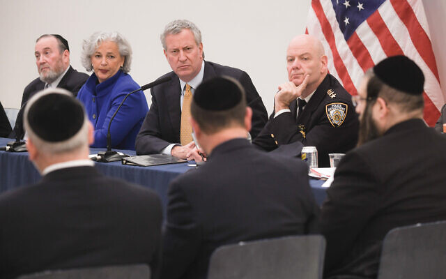 Mayor de Blasio meeting in December with Jewish community leaders in Williamsburg in the wake of the attack in Jersey City at a kosher market.