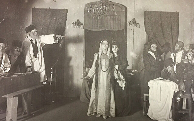 "An archival photo of the Vilna Troupe rehearsing ""The Dybbuk"" in 1919. Photos courtesy of YIVOJTA"