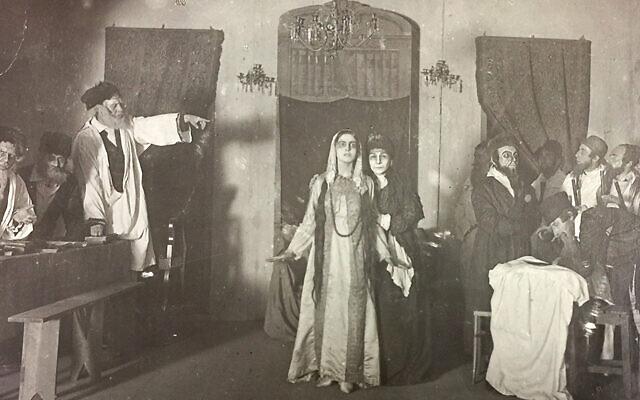 "An archival photo of the Vilna Troupe rehearsing ""The Dybbuk"" in 1919. Photos courtesy of YIVOJTA"