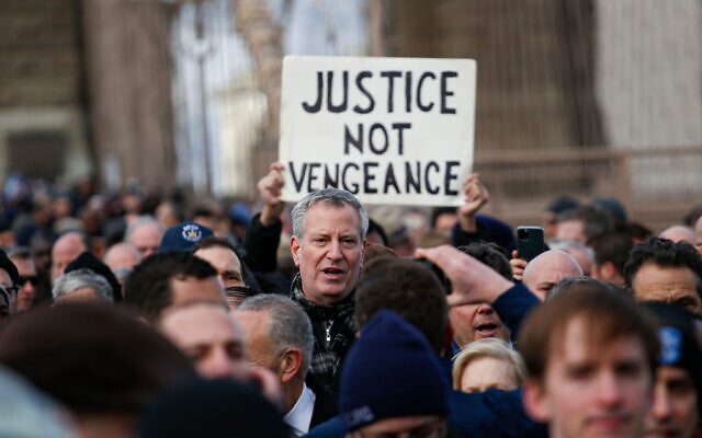New York City Mayor Bill de Blasio attends a rally in support of the Jewish community in New Yokr City, Jan. 5, 2020. (Kena Betancur/AFP via Getty Images/via JTA)