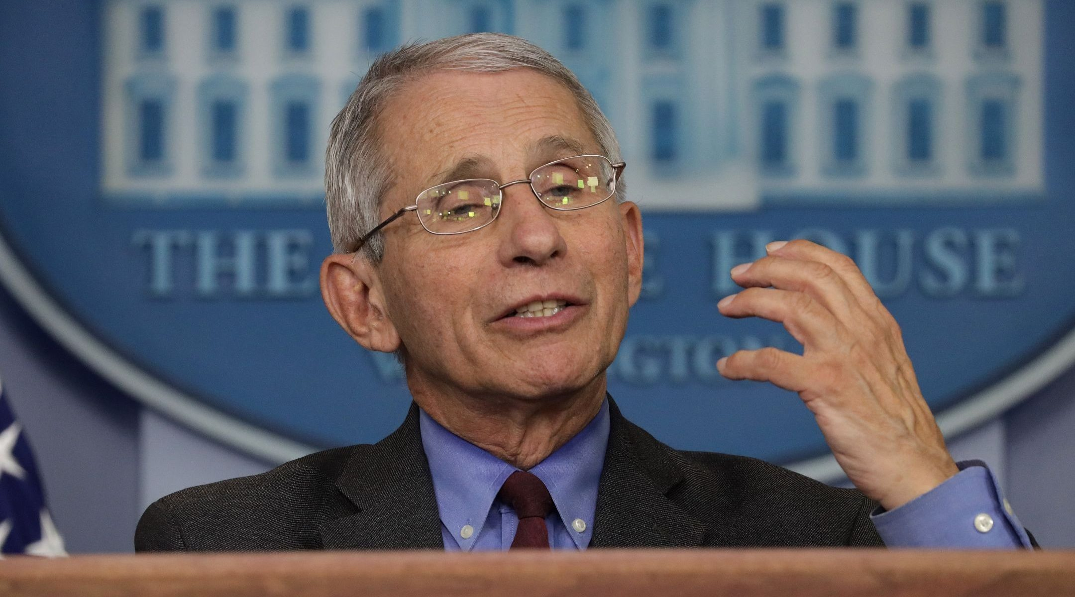 Dr. Anthony Fauci, director of the National Institute of Allergy and Infectious Diseases, speaks at the daily briefing of the White House Coronavirus Task Force at the White House, April 10, 2020. (Alex Wong/Getty Images)