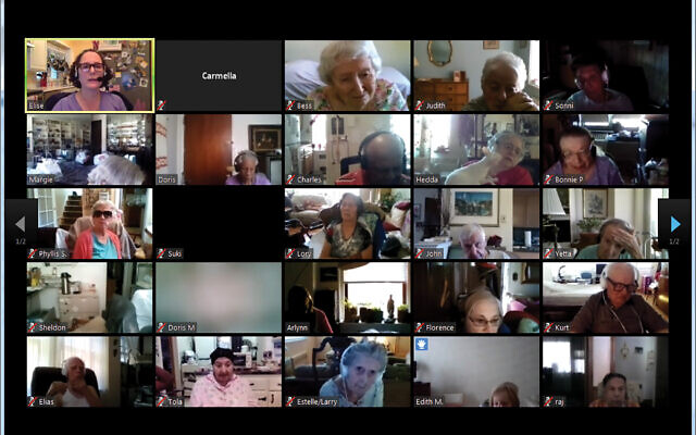 Seniors meeting up virtually to take a history class. The Selfhelp service is helping to create a sense of community. Courtesy of Selfhelp