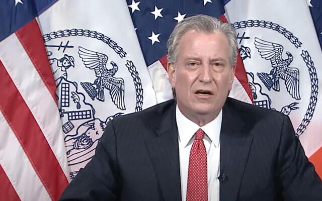 Mayor Bill de Blasio, shown speaking last month, intervened on behalf of yeshivas in a bid to keep control of city schools. Screenshot from YouTube