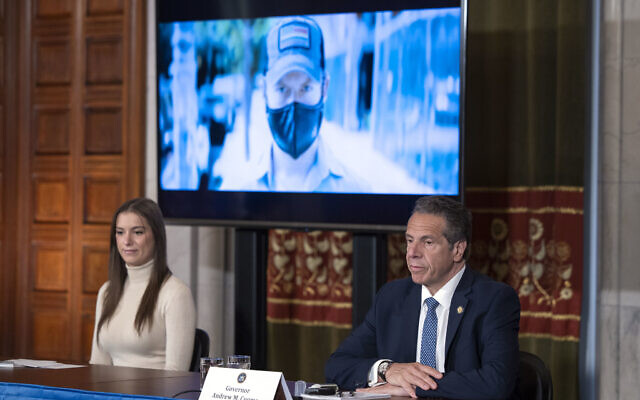 Gov. Andrew M. Cuomo provides a coronavirus update during a press conference in the Red Room at the State Capitol in Albany, May 20, 2020. At left is his daughter, Maria Kennedy-Cuomo. (Mike Groll/Office of Governor Andrew M. Cuomo)