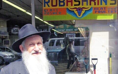 Aaron Rubashkin, patriarch of the Agriprocessors kosher meat empire, outside his Brooklyn butcher shop, June 3, 2008. (JTA/Ben Harris)