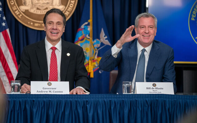 New York state Gov. Andrew Cuomo and New York City Mayor Bill DeBlasio speak during a news conference on the first confirmed case of COVID-19 in New York on March 2, 2020 in New York City. David Dee Delgado/Getty Images