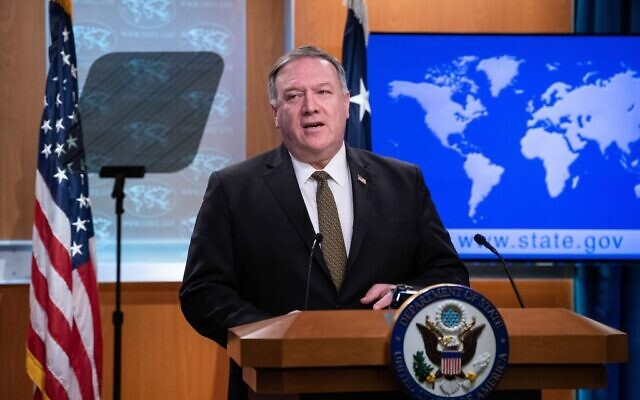 """As for the annexation of the West Bank, the Israelis will ultimately make those decisions,"" US Secretary of State Mike Pompeo said on April 22, 2020. ""That's an Israeli decision."" NICHOLAS KAMM/POOL/AFP via Getty Images"